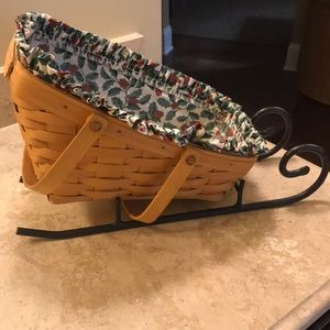 Longaberger sleigh basket and holder